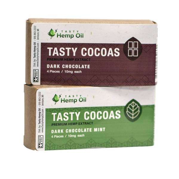 groovyhempcompany.com provides Tasty Cocoas, 1 box - 4 chocolates, Chocolate and Mint Chocolate flavors.