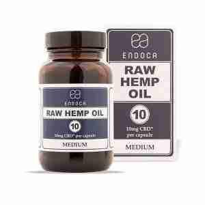 Raw Hemp Oil Capsules, 30 Pack, 10mg Organic CBD