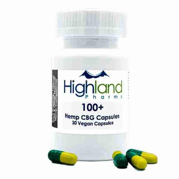 groovyhempcompany.com provides Highland Pharms 100+, 100mg Organic CBG, Hemp Vegan Softgel Capsules.